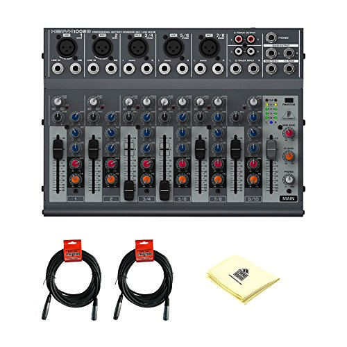 Behringer Xenyx 1002B 3-Band EQ, Battery-Powered Capability Premium 10-Input 2-Bus Audio Mixer with 2 Microphone Cable and Zorro Sounds Mixer Cleaning Cloth by Behringer
