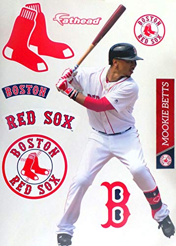 "FATHEAD Mookie Betts Boston Red Sox Logo Set Official MLB Vinyl Wall Graphics 17"" INCH"