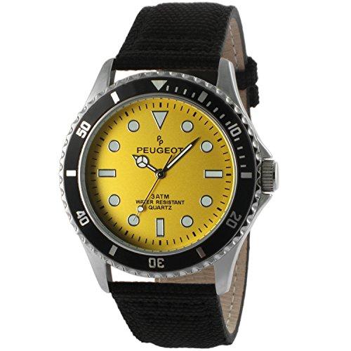 Peugeot Men's 'Yellow' Quartz Metal and Canvas Sport Watch, Color:Black (Model: 2057YL)