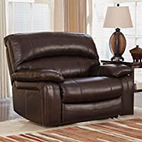 Ashley Furniture Signature Design - Damacio Recliner - Oversized - Contemporary - Pull Tab Reclining - Dark Brown