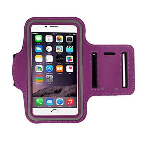 For iPhone 7Plus / 6 PLUS / 6S PLUS Armband, FreshZone Sports Running Jogging Exercise Gym Sportband (5.5-Inch) Sweat Proof / Key Pocket Holder (Purple)