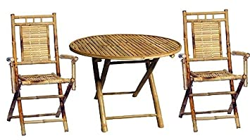 Amazon.com : 3 Pc Outdoor Bamboo Dining Round Table Set : Outdoor ...