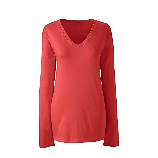 793e05848bb Lands  End Women s Plus Size Supima Cotton Long Sleeve T-Shirt - Relaxed V- Neck