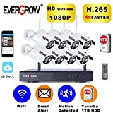 EVERGROW H265 Full HD 1080P 8 Channel Outdoor and Home Security Camera System Weatherproof 8pcs Bullet Cameras DVR 3X Signal Range, 4X Faster, 1/2 Storage, Smooth Image (CAM-WIFI-8CH-2MP)