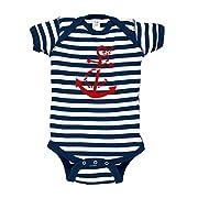 Anchor Baby Bodysuit (0-3 months/newborn, Navy Blue Stripes)