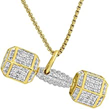 """Weightlifting Dumbell Pendant Bodybuilding 18K Gold Plate Fitness Necklace 24"""""""