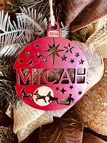 Personalized Christmas Ornament 2018 Solid Wood Santa's Reindeer Design