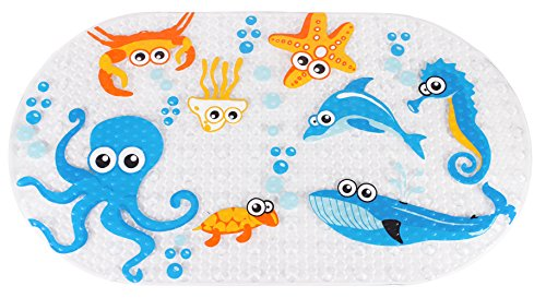 Yimobra Original Bath tub Shower Mat Kids Anti Bacterial,Phthalate Free,Latex Machine Washable Cartoon Pattern Mats Materials 27X15.5 Inch(Ocean Zoo)