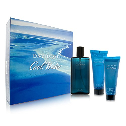 Cool Water by Davidoff for Men 3 Piece Set Includes: 4.2 oz Eau de Toilette Spray + 2.5 oz Shower Gel+ 2.5 oz After Shave Balm