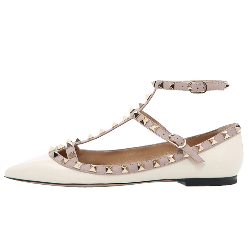 Comfity Women's Pointy Toe Rockstud Flats Strappy Ballerina Shoes B0722L6SCM 6 B(M) US|White-patent