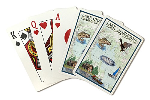 Lake Charlevoix, Michigan - Nautical Chart (Playing Card Deck - 52 Card Poker Size with Jokers) (Nautical Chart Lake Michigan)