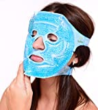 Facial Mask Ice Pack - Cold and Hot Gel Face Mask, Reduce For Migraines, Dark Circles, Bags Under Eyes, With Swollen Eyes And Face, With Sinusits, Compress For Acne, Stress Relief, Relaxation (Blue)