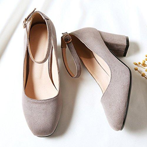 GAOLIM Las Mujeres Solteras En Otoño Zapatos Con Gruesas Y Cabeza Cuadrada Correa Ranurada Luz-Zapatos Zapatos De Trabajo Versátil Y Minimalista Gris