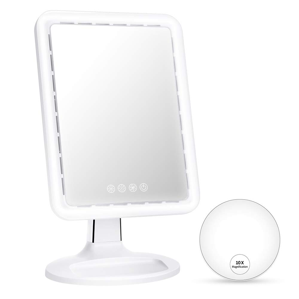 KEDSUM 16.5 Inch Large Lighted Makeup Mirror with Fan Function, 3 Levels Wind, Dimmable Light up Vanity Mirror with 2 Lighting Modes and 10x Spot Magnifying Mirror, Touch Switch, Free Rotation