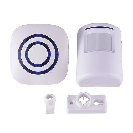 XCSOURCE® Timbre Inalámbrico 38 Canciones Bienvenido Alarma Luz Indicadora PIR Detector De Movimiento Detector Campana