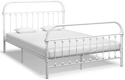vidaXL Bettgestell Klassisch Metallbett Bett Doppelbett Schlafzimmerbett Bettrahmen Lattenrost Ehebett Schlafzimmerm/öbel Wei/ß Metall 120x200cm