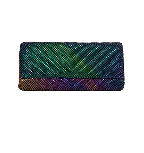 Whiting & Davis Quilted Chevron 1-5858 Evening Bag,Peacock,One - Whiting Evening Bags Davis