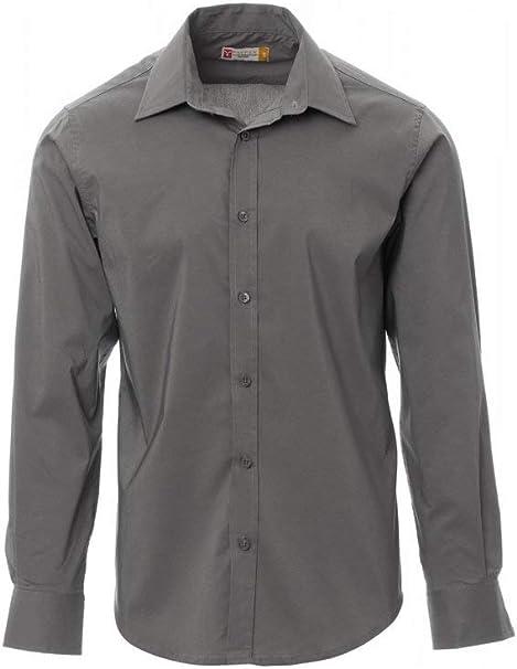 PAYPER Image Camicia da Uomo a Manica Lunga Misto Cotone Poliestere Pettinato Polso Sagomato carr/è Liscio Pinces di ripresa Steel Grey