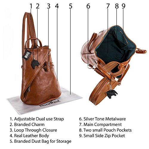 Bolso de Hombro Convertible con Tiras, Bolso de Cuero Italiano con Bolsa de Almacenamiento Protector - Brady (Grande/Medio) Medium Tan Plain