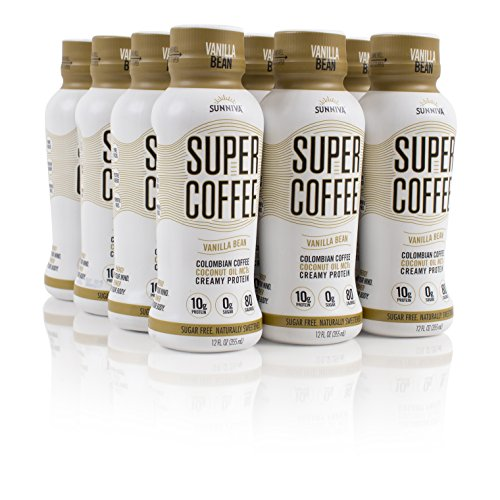 SUNNIVA Super Coffee Vanilla Bean NEW Sugar-Free Formula,10g Protein, Lactose Free, Soy Free, Gluten Free, Pack of 12