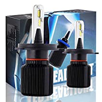 Boodlied LED Headlight Bulbs J1-S Car led headlights 72W 6500K 8000LM Extremely Bright CSP Chip Conversion Kitss,Error Free Headlight Bulbs,9~32V.1Pair-3Year Warranty.(White)2-Pack.