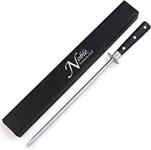 """Professional Knife Steel Magnetized for Safety. Our Honing Rod Has an Oval Handle for a Firm Grip and is Built For Daily Use, Perfect for Chefs and Home Cooks Alike! (10"""", 3 Dot)"""
