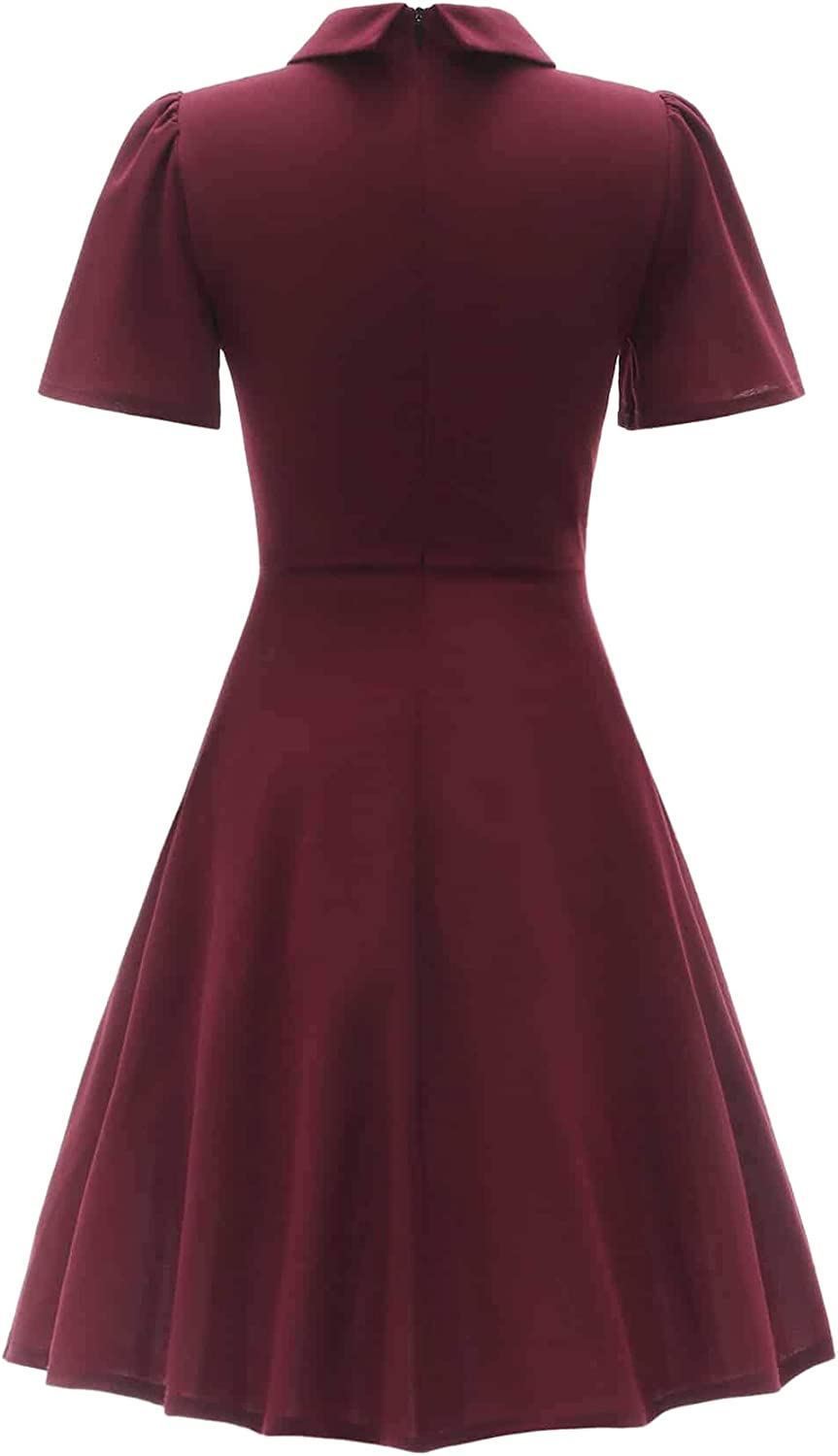 Romwe Womens Petite Vintage 1950s Retro Collared Long Sleeve Fit and Flare Swing Party Dress