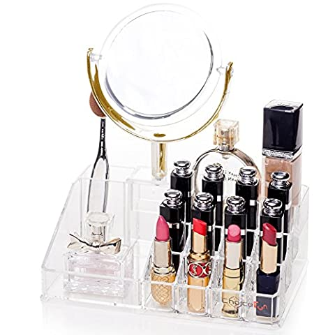 Choice Fun Acrylic Vanity Tray Makeup Organizer Lipstick Holder Transparent QFJJSN-NSF-1542MS - Garnet Set Brooch