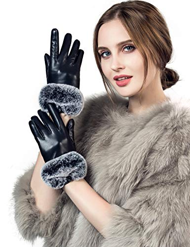 Ladies Fur Trimmed Leather Dress - YISEVEN Women's Touchscreen Lambskin Leather Gloves Rex Rabbit Fur Cuff Soft Hand Warm Heated Fleece Lined Luxury Ladies Winter Accessories Dress Driving Xmas Gift Packed, Black 9.0