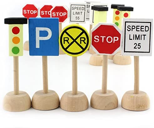 Kids Wooden Street Signs Playset (14-Piece Set), Wood Traffic Signs Perfect for Car & Train Set