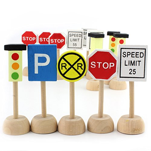 Kids Wooden Street Signs Playset, Wood Traffic Signs Perfect for Car & Train Set