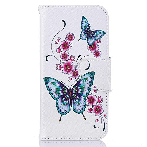 Painted Village - Galaxy S7 Case, Bear Village Painted Pattern Premium PU Leather Magnetic Wallet Case Cover with Kickstand and Card Holder ID Slot for Samsung Galaxy S7 (#1 Butterfly)