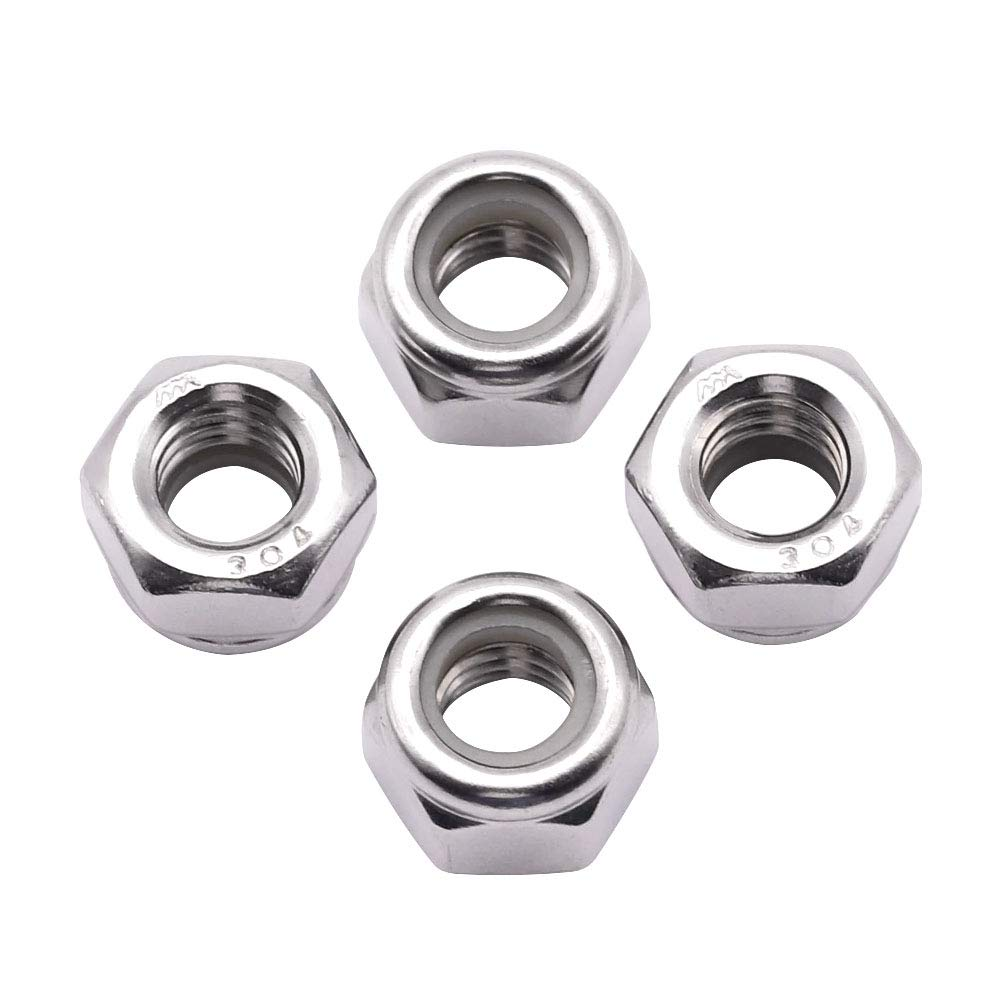 Finish Hex Lock Nut 304 18-8 Stainless Steel Lock nut UNC 3//8-16 inch Nylon Inserted Hex Locknuts (20 Pack