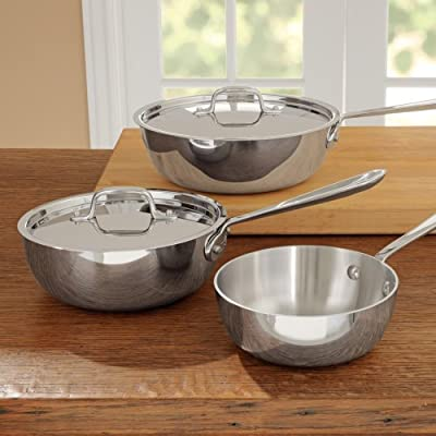 All Clad Stainless Steel 3-Ply Bonded Dishwasher Safe Saucier Pan with Lid Cookware, Silver