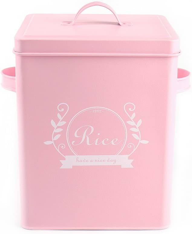 H102 Square Metal Food/Flour/Sundries Kitchen Storage Tin Canister/Bucket/Containers with Lid And Scoop (pink)