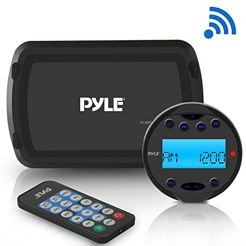 Pyle Round Waterproof Marine Radio - 200W Aquatic Boat In Dash Stereo Receiver System with Bluetooth, AM FM, Digital LCD, USB, AUX, RCA - Includes Wiring Harness, Bracket, Remote Control - PLMR93W