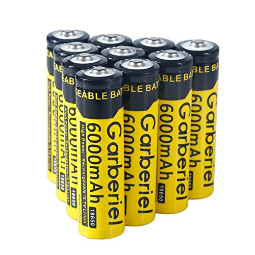 10 Pack 18650 Battery 6000 mAh 3.7V Li-ion Rechargeable Battery High Performance Flashlight Battery (Not Flat Top, Not AA or AAA Battery) (Battery Lithium 18650)