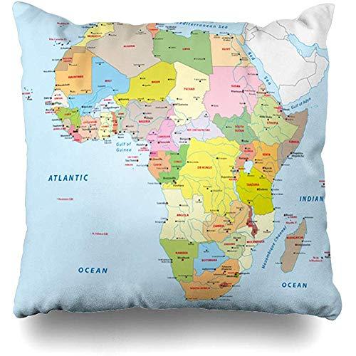 Throw Pillow Cover Cities Blue Kenya Africa Political Map South Sudan Rwanda Uganda Design Burkina Square Cushion Sofa Pillowcase 18 x 18 Inches Home Decor Pillow Case (Covers South Africa Patio Chair)