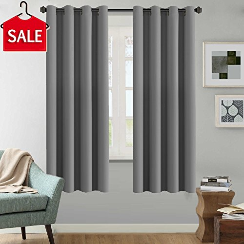 H.Versailtex Solid Grey Color Thermal Insulated Blackout Curtains Metal Grommet Curtain Panels Room Darkening Window Drapes for Bedroom/Living Room 52 x 72 Inch Set of 2 (Curtains Solid Black)