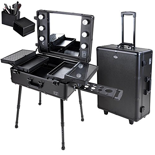 AW Rolling Studio Makeup Artist Cosmetic Case w/ 6x 40W LED Light Bulb Adjustable Leg Mirror Cosmetic Black Train Table by AW
