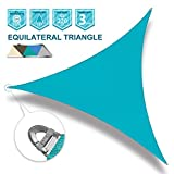 Coarbor 20'x20'x20' Sun Shade SaiL Triangle Wire Rope Hemmed All Edges Strong Double Stitched Seam Super Heavy Duty Perfect for Patio Deck Yard Garden-Turquoise Green