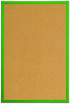 BiOffice Kurk prikbord kurkbord met groen MDF frame 40 x 30 cm