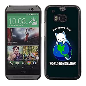 PIG - FOR HTC One M8 - World Planet Earth Cat Ruler White King Anime - Dise???¡¯???€????€????¡Ào para el caso de la cubierta de pl?