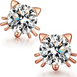 Platinum Gold-Plated Sterling Silver Cubic Zirconia Stud Earrings Deal (Small Image)