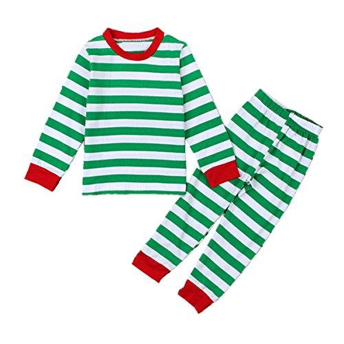 (Puseky Baby Boys Girls Striped T-shirt and Pants Homewear Christmas Pajamas Sets (2~3T, Green))