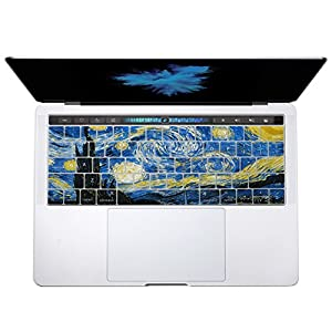"""Herngee Starry Night by Van Gogh Macbook keyboard Cover for 2016 New MacBook Pro 13"""" 15"""" with Multi-Touch Bar A1706 A1707"""