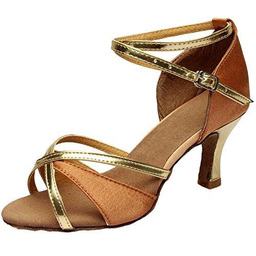 Azbro Mujer Zapato de Baile Latín de Tacón Alto Correa Cruzada con Puntera Abierta Oscuro Color Piel
