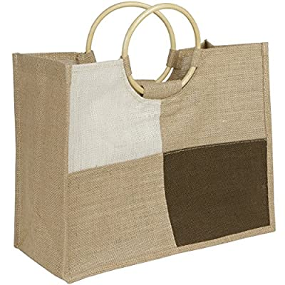 Reusable Checkered Designed Jute Canvas Grocery Market Tote Bag Eco Friendly Natural Jute Burlap Handbag 7.1W x 16L x 13H Inch