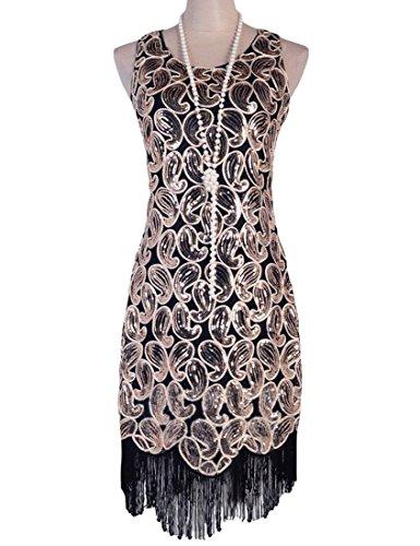 [KAYAMIYA Women's 1920s Sequin Paisley Pattern Fringe Gatsby Flapper Dress M Black] (Charleston Costume Women)