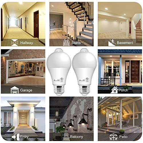 Motion Sensor Light Bulb- 2 Pack, AmeriTop 10W(60W Equivalent) 806lm Motion Activated Dusk to Dawn Security LED Bulb; UL Listed, A19, E26, Auto On/Off Indoor Outdoor Lighting (2700K Soft White)